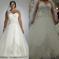 A-Line Reference Images One-Shoulder One Shoulder 2014 New Plus Size A-Line Luxury Wedding Dresses Tulle White Crystal Applique Asymmetrical Long Formal Dress Bridal Gowns
