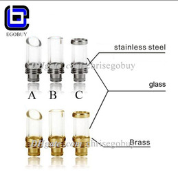 Wholesale Pyrex glass Stainless Steel or brass metal Muffler flat ring drip tip Wide Bore Atomizer Mouthpieces tips for kanger aspire MT3 atomizer