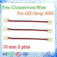 Wholesale Strip Connectors mm pin Two Connectors Wire Adapter For SMD LED Strip Single Color No Need Soldering