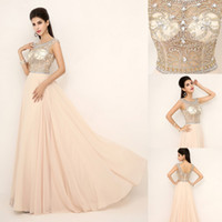 Wholesale 2014 Sheer Neck Actual Images Nude Crystal Prom Evening Dresses Beaded Backless Cap Sleeve Chiffon Celebrity Party Pageant Gowns SSJ