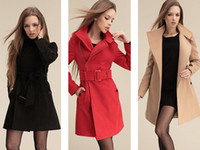 Women Stand Collar Long Sleeve 2014 fall and winter clothes new European and American women's woolen jacket Slim wool coat woolen coat long section