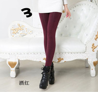 Wholesale Ms qiu dong with velvet leggings increasing bootcut show thin one seven colored cotton pants trample feet warm to wear pants