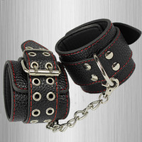 Wholesale Adult Games Wrist Ankle Cuffs Handcuffs Bondage Gear Sex Toy Sex Product For Couples Leather Fixed Harness Men Fetish Slave Fixed Tools