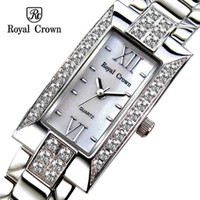 Wholesale Italy Brand Watches Royal Crown Ladies Jewelry Rhinestone Watch Rectangular Dial Stainless Steel Quartz Wristwatch With Gift Box Waterproof