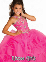 Reference Images Girl Beads Halter Collar Rtzee Girls 2014 Teens Luxury Floor Length Pageant Dresses Girls Tiers Crystal Jewel Formal Occasion Flower Girl Ball Gowns