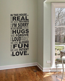 Wholesale Large Size Family House Rules Quotes And Sayings Stickers Wall Decal Removable Art Vinyl Wall Sticker Home Decor