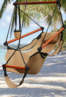 Canvas   Fedex Free AAA+ New Hot Canvas Hammock Hanging Chair Air Deluxe Sky Swing Outdoor Chair Beach Chairs with Pillow 250lb Khaki CW0212