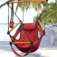 Canvas   Fedex Free Factory Price New Canvas Hammock Hanging Chair Air Deluxe Sky Swing Outdoor Chair Beach Chairs with Pillow 250lb Red CW0212