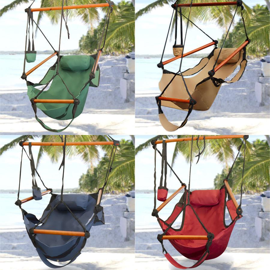 2017 Fedex Free New Canvas Hammock Hanging Chair Air Deluxe Sky Swing Outdoor