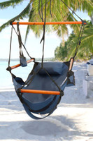 Wholesale Fedex Free Factory Price New Canvas Hammock Hanging Chair Air Deluxe Sky Swing Outdoor Chair Beach Chairs with Pillow lb Blue CW0212