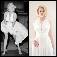 Wholesale Marilyn Monroe Sexy V Neck White Chiffon Evening Dresses Pleats Knee Length Prom Dresses For Party Gowns