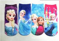 al por mayor artículos para bebés congelados-Congelado Ana y calcetines de Elsa El calcetín largo 4 de la historieta del bebé calienta desgaste encantador del bebé de los calcetines de los niños Nuevos artículos los calcetines congelados liberan el mejor del envío