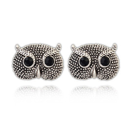 Wholesale 2014 new arrive fashion women silver retro vintage animal owl stud earrings