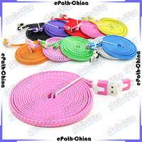 Cheap 3FT 6FT 10FT 10ft USB Fabric Braided Data Sync Wire Charging Cable Fiber Flat Knit Woven Charger Cord For Smartphone Mobile Phone