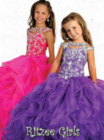 Reference Images Girl Beads Tassel Off The Shoulder Rtzee Girls 2014 Teens Girl's Pageant Dresses Crystal Jewel Floor Length Formal Occasion Flower Girl Ball Gowns