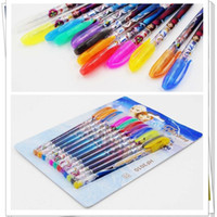 Wholesale 2015 Frozen Gel Pen Princess Elsa Anna Shining Glitter Writing Students Kids Stationery Set Cartoon Colorful Pens DHL