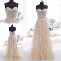 Wholesale Cheap under A line sequins strapless belt crystal prom dress champagne sweep train party dresses