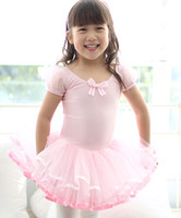 Free Shipping Young Girl Ballet Dance Clothes Half Sleeve With Dots