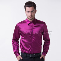 Dress Shirts Long Sleeve Silk-Like Satin Hot Luxury Men's Slim Fit Muscle Silk-Like Satin Collared Casual Shirts Tops new CL5250