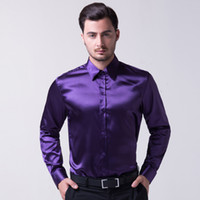 Cheap Super COOL Men Slim Fit Silk-Like Satin Solid Long Sleeve Casual Shirts Tops For Gents CL5250