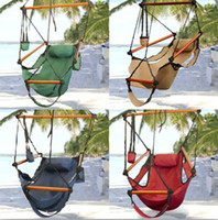 Canvas   Fedex Free High Quality New Canvas Hammock Hanging Chair Air Deluxe Sky Swing Outdoor Chair Beach Chairs with Pillow 250lb CW0212
