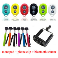 Wholesale Bluetooth Remote Shutter Phone Clip Camera Monopod For iPhone Samsung Android and IOS phones DHL