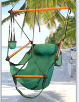 Canvas   Fedex Free AAA+ New Canvas Hammock Hanging Chair Air Deluxe Sky Swing Outdoor Chair Beach Chairs with Pillow 250lb Green CW0212
