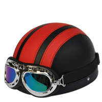 half face helmet - Hot Goggles Motorcycle Helmet Open Face Half Vintage Motorbike Victory Racing Helmets With Visor Goggles For Summer DHL Free Factory Price