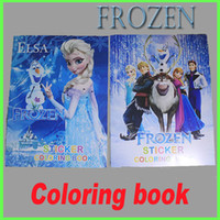 Wholesale Frozen Anna Elsa DIY Colouring Notebook And Sticker Baby Crayon Coloring Book Kids Holiday Gift Children Puzzle Painting GZ GD11