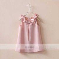 TuTu Summer Pleated Hot Selling Girls Hyperbole Bow Wool Skirt Kids Leisure Pink Jumper Skirt Pure Color Baby Ruffle Red Skirt 6pcs lot Drop Shipping SZ0148