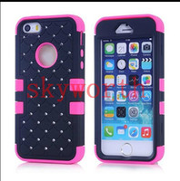 Wholesale 3 in Bling bling Diamond Hybrid Rugged Impact Armour Silicone Case Hard Skin Cover for iPhone S S