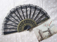 plastic hand fan - Wedding Fans Women Party Fans Bridal Accessories Handmade inches Solid Color Plastic with Lace New Advertising Promotional Folding Fans