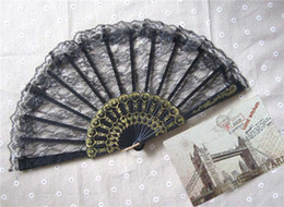 Wholesale Wedding Fans Women Party Fans Bridal Accessories Handmade inches Solid Color Plastic with Lace New Advertising Promotional Folding Fans