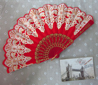 Hand Fans plastic hand fan - Women Party Spanish Hand Fans Wedding Gift Fans Handmade inches New Advertising Promotional Folding Cloth Fans drop shipping hot sale