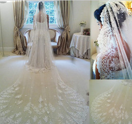 Wholesale 2014 velo de novia Three Meters Long cathedral Wedding Veils lace Ivory White Two layers Tulle and lace Bridal Veils Purfle Comb