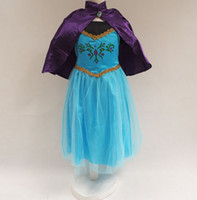 TuTu Summer A-Line Frozen Princess Elsa Anna Costume Dress With Cloak Baby Girls 3Y-8Y Cartoon Summer Clothing Snow Queen Cosplay Dress