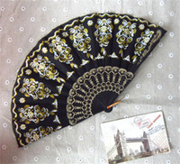 Hand Fans plastic hand fan - Handmade Black Spanish Hand Fans Bridal Embroidered Fans Plastic Fashion Style Folding Fans