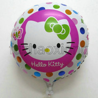 Wholesale 20pcs cm Hello Kitty Cartoon Hydrogen Balloon inch Round Aluminum Foil Helium Balloons Birthday Party Decoration Kids Classic Toys