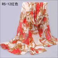 big wagon scarf WJ-004 chiffon 1PC New Winter Autumn Big Wagon Printed Brand New chiffon silk scarf WJ-004