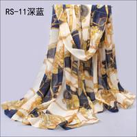 Printed Long Plain European style England wagon printing chiffon silk scarf WJ-004