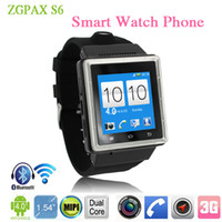 WCDMA Dual Core Android Hot ZGPAX S6 Smart Watch Phone 1.54 Inch 3G Android 4.0 MTK6577 Dual Core Smartwatch Smartphone GPS 2.0 MP Camera Wifi WCDMA GSM