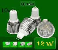 Cheap 10x GU10 12W Spotlight High Power Dimmable GU10 4X3W 12W 85-110V 220-240V CREE LED Light LED Lamp