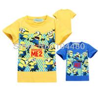 Women V-Neck Cotton 2014 minion cartoon baby clothing,cool summer fashion short sleeve baby boys tops,retail toddler baby t-shirt Blue Yellow