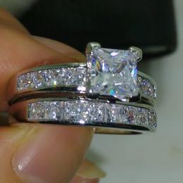2017 New Arrival Brand Desgin Luxury Jewelry 10kt White Gold Filled Princess Cut Topaz CZ Diamond Gemstones Wedding Women Couple Ring Set