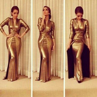 Reference Images V-Neck Stretch Satin New arrival Golden Elegant Vintage V-neck Evening Dresses Sheath Long Sleeve Stretch Satin Arabic Designer Celebrity Dresses 2014