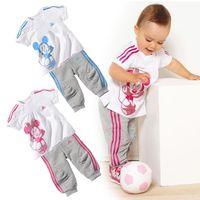 Wholesale Special offers clearance children s set girls and boys set cotton short sleeve t shirt pants sport suit Minnie clothes TZ0005