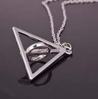 Wholesale Silver rotatable Deathly Hallows Pendant Necklace rotatable Deathly Hallows harry potter new arrival
