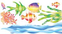 Graphic vinyl PVC Animal Free Shipping PVC wall stickers discount grass carp bathroom waterproof stickers - waist line decoration