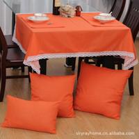 Wholesale Rui Shi can simply plain linen table cloth tablecloths tablecloths purplish pink orange color multi standard