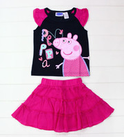Girl Summer Short 14 summer new peppa pig baby clothes suit 1-5T girl-kids t-shirts+shorts 7sets lot cotton kids clothing sleepwear kids pajamas flower